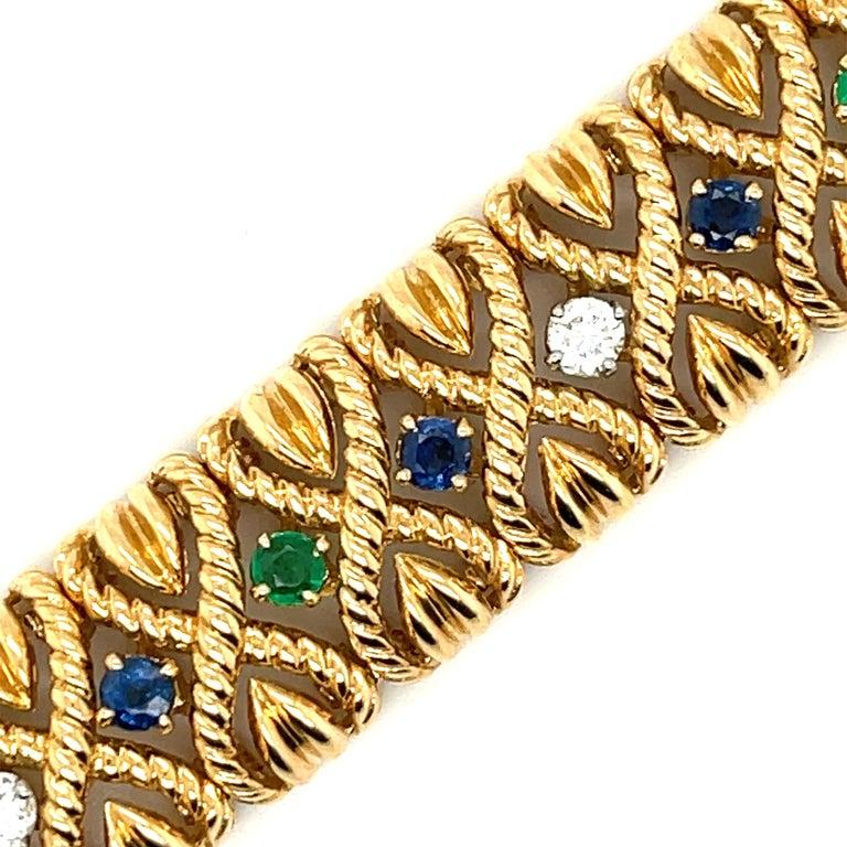 Modern Vintage Van Cleef & Arpels 18 Karat Gold Gem Set Diamond Braided Bracelet For Sale