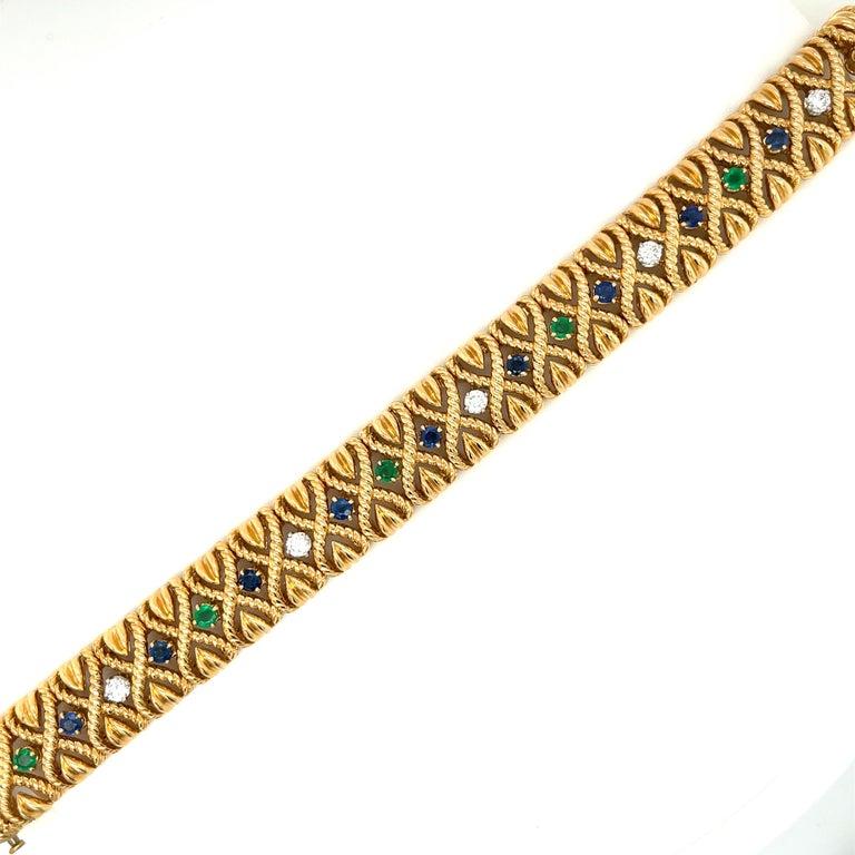 Round Cut Vintage Van Cleef & Arpels 18 Karat Gold Gem Set Diamond Braided Bracelet For Sale