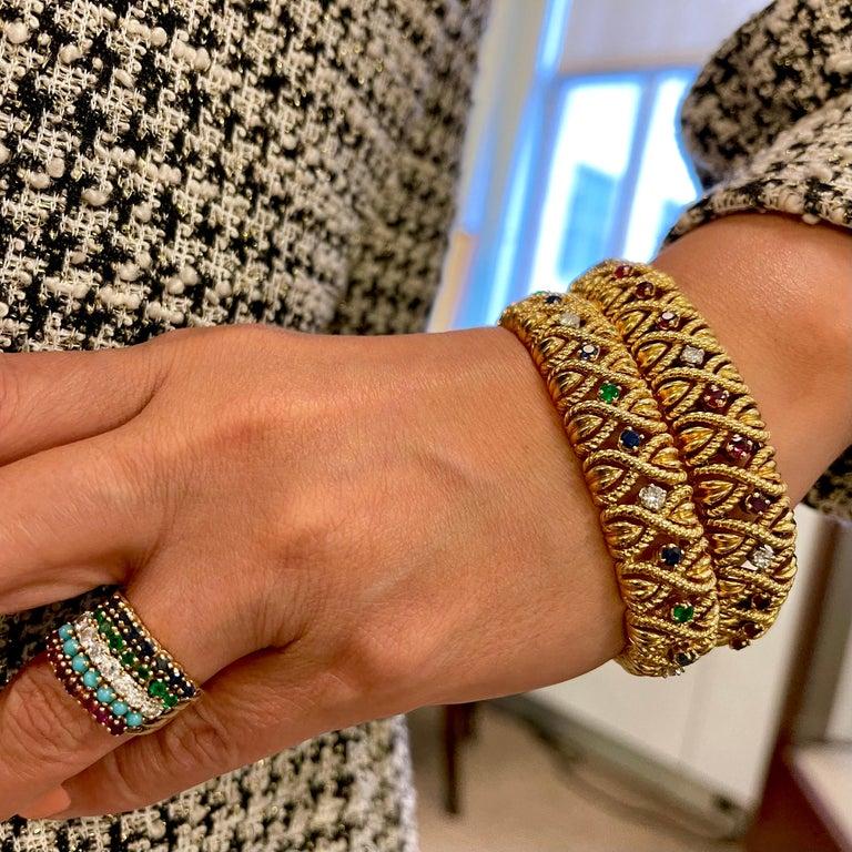 Vintage Van Cleef & Arpels 18 Karat Gold Gem Set Diamond Braided Bracelet In Good Condition For Sale In New York, NY