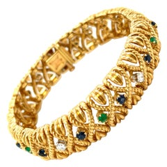 Vintage Van Cleef & Arpels 18 Karat Gold Gem Set Diamond Braided Bracelet