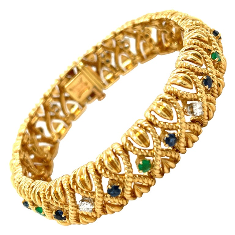 Vintage Van Cleef & Arpels 18 Karat Gold Gem Set Diamond Braided Bracelet For Sale