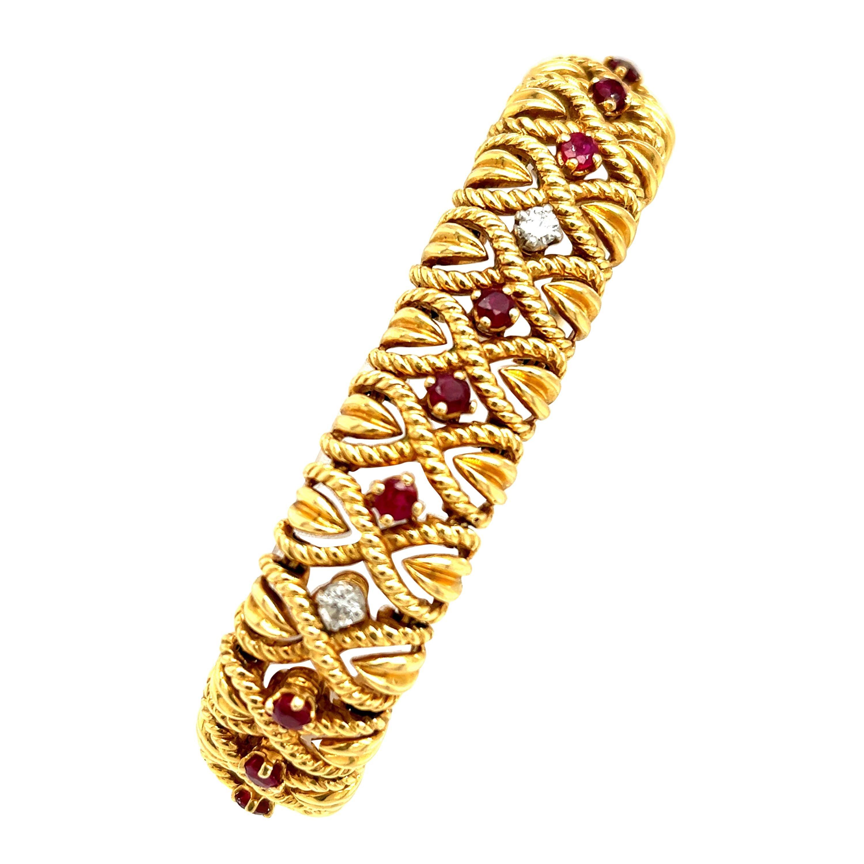 Vintage Van Cleef & Arpels 18 Karat Gold Ruby Diamond Braided Bracelet