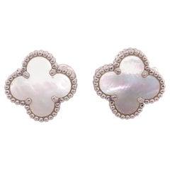Vintage Van Cleef & Arpels 18 Karat White Gold Mother of Pearl Alhambra Earrings