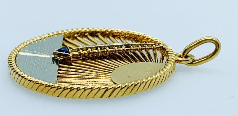Artisan Vintage Van Cleef & Arpels 18 Karat Gold Diamond and Sapphire Sailboat Charm