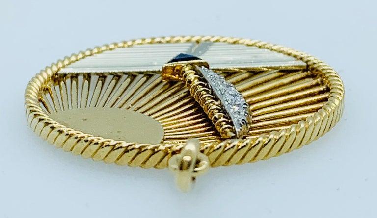 Vintage Van Cleef & Arpels 18 Karat Gold Diamond and Sapphire Sailboat Charm In Good Condition In Birmingham, AL