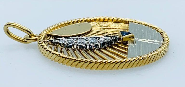 Women's or Men's Vintage Van Cleef & Arpels 18 Karat Gold Diamond and Sapphire Sailboat Charm
