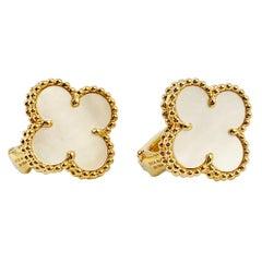 Vintage Van Cleef & Arpels Alhambra 18 Karat Gold and Mother of Pearl Earrings