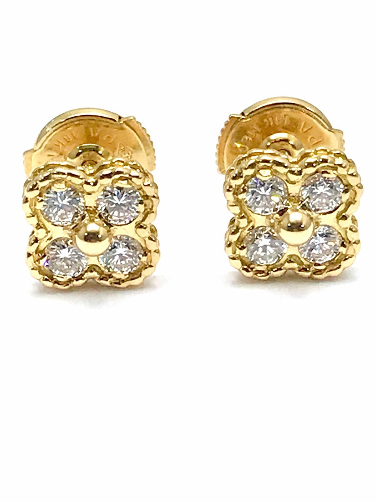 Vintage Van Cleef & Arpels Alhambra Diamond and 18 Karat Yellow Gold Earrings For Sale 1