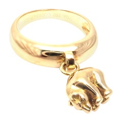 Vintage Van Cleef & Arpels Bear Charm Yellow Gold Band Ring