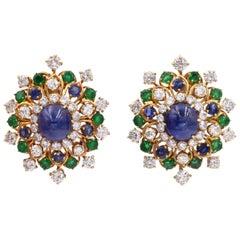 Vintage Van Cleef & Arpels Diamond and Gemstone Earrings