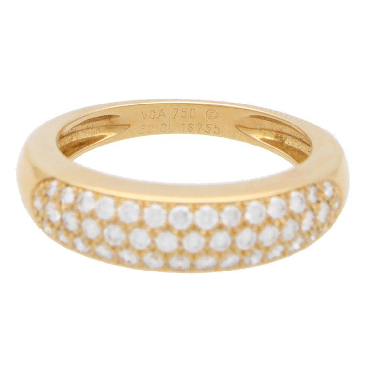 Round Cut Vintage Van Cleef & Arpels Diamond Band Ring Set in 18k Yellow Gold