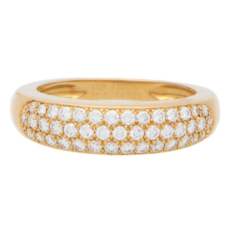 Vintage Van Cleef & Arpels Diamond Band Ring Set in 18k Yellow Gold