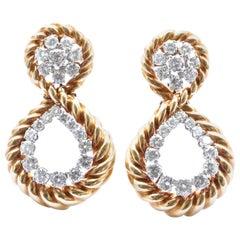 Vintage Van Cleef & Arpels Diamond Door-Knocker 18 Karat Gold Platinum Ear Clips