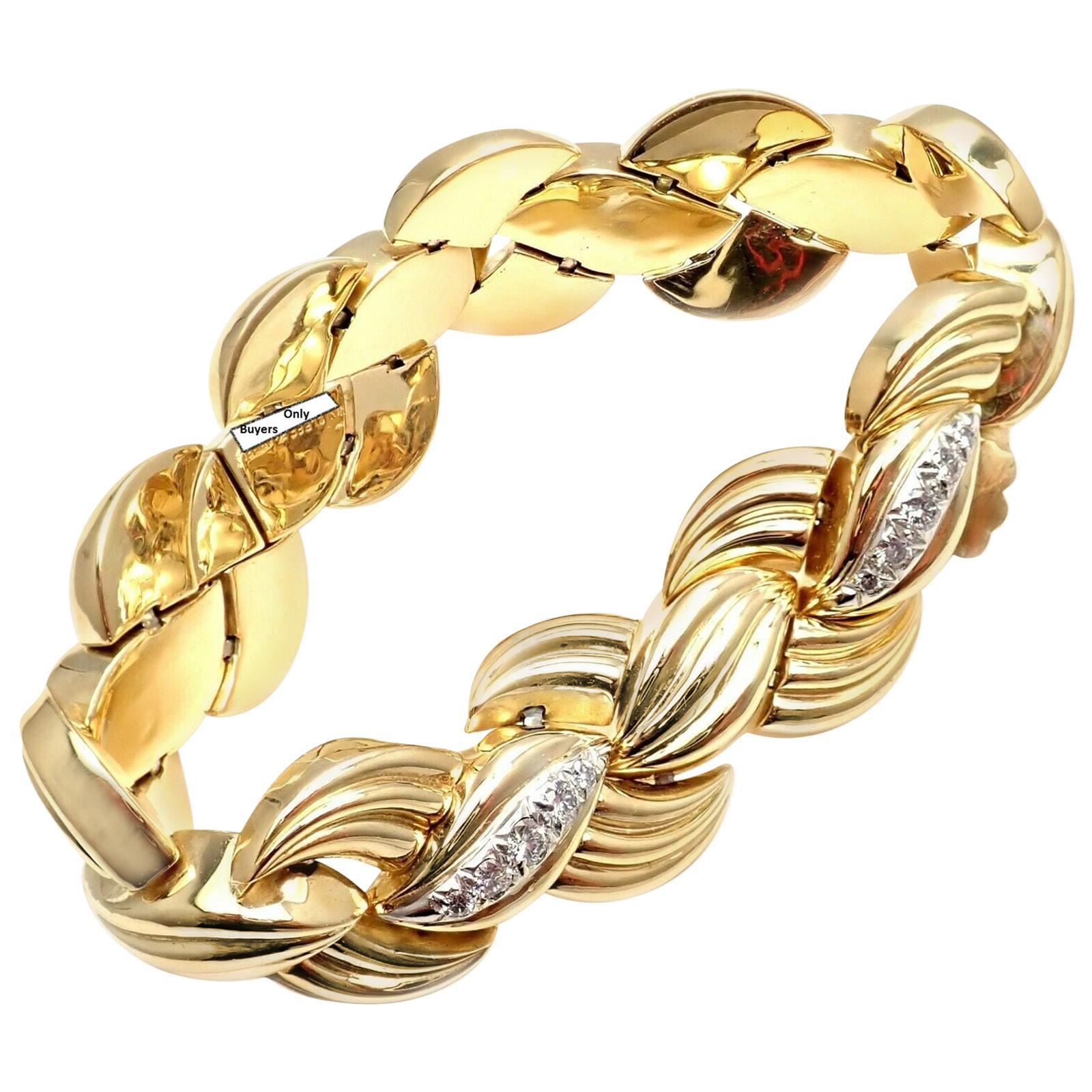 Vintage Van Cleef & Arpels Diamond Link Yellow Gold Bracelet