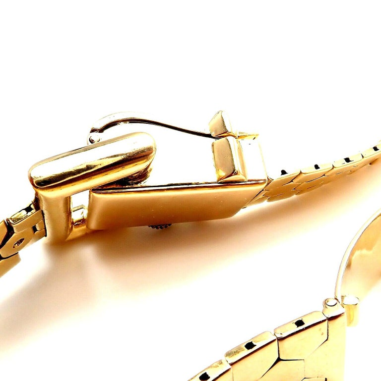 Vintage Van Cleef & Arpels Diamond Ludo Hexagone Buckle Yellow Gold Wristwatch For Sale 8