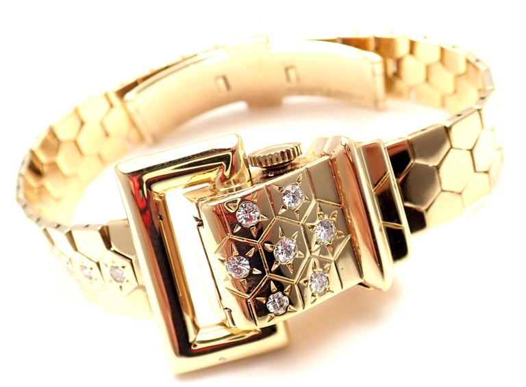 18k Yellow Gold Diamond Ludo Hexagone Buckle Wrist Watch by Van Cleef & Arpels.  With Round brilliant cut diamonds VVS1 clarity E color  7x on Lid 3x on Band Total weight approximately 0.75ct Details:  Case Size: 13mm Width 21mm Height Length: Fits