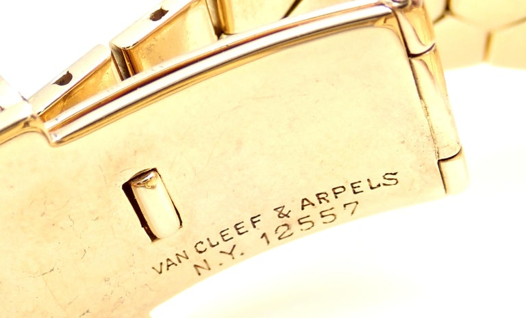 Vintage Van Cleef & Arpels Diamond Ludo Hexagone Buckle Yellow Gold Wristwatch In Excellent Condition For Sale In Holland, PA
