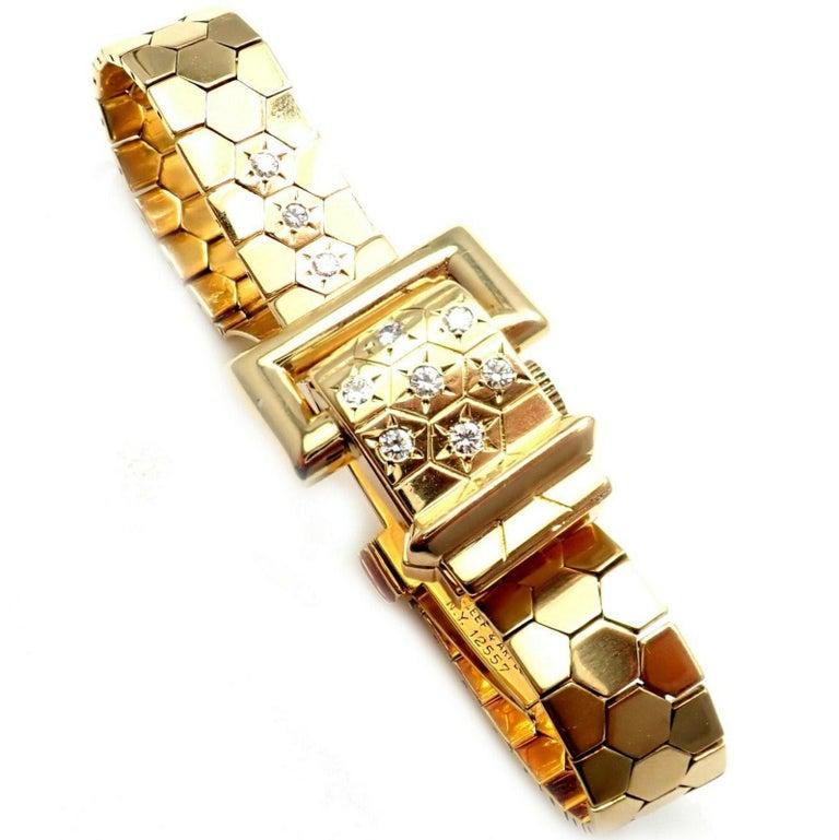 Women's or Men's Vintage Van Cleef & Arpels Diamond Ludo Hexagone Buckle Yellow Gold Wristwatch For Sale
