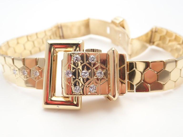 Vintage Van Cleef & Arpels Diamond Ludo Hexagone Buckle Yellow Gold Wristwatch For Sale 1