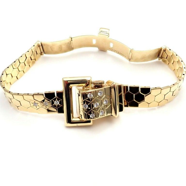 Vintage Van Cleef & Arpels Diamond Ludo Hexagone Buckle Yellow Gold Wristwatch For Sale 3
