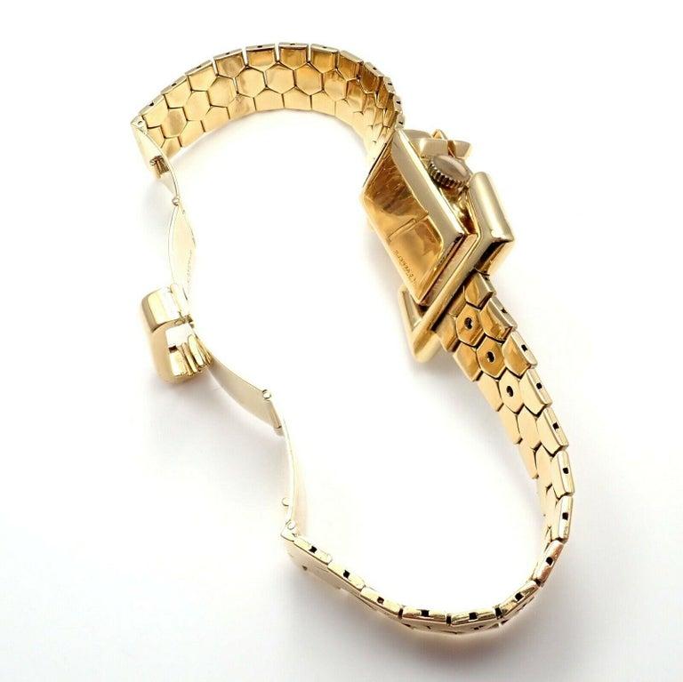 Vintage Van Cleef & Arpels Diamond Ludo Hexagone Buckle Yellow Gold Wristwatch For Sale 4
