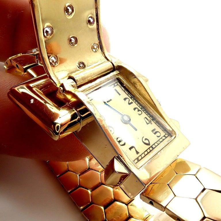 Vintage Van Cleef & Arpels Diamond Ludo Hexagone Buckle Yellow Gold Wristwatch For Sale 5
