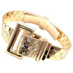Vintage Van Cleef & Arpels Diamond Ludo Hexagone Buckle Yellow Gold Wristwatch