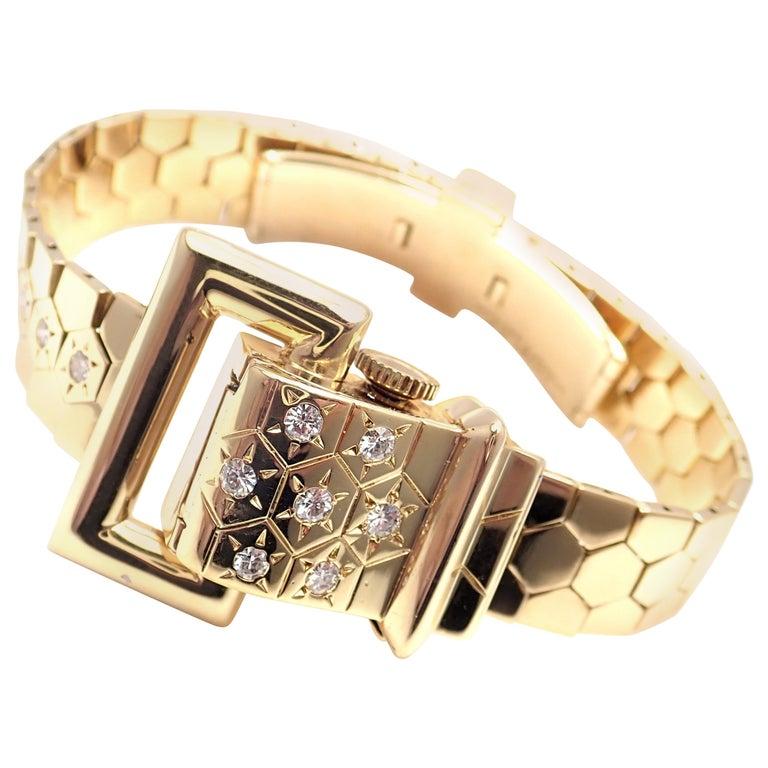 Vintage Van Cleef & Arpels Diamond Ludo Hexagone Buckle Yellow Gold Wristwatch For Sale