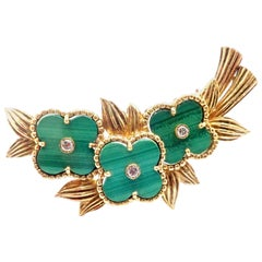 Vintage Van Cleef & Arpels Diamond Malachite Alhambra Yellow Gold Pin Brooch