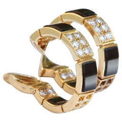 Vintage Van Cleef & Arpels Diamond Onyx 18 Karat Gold Hoop Earrings