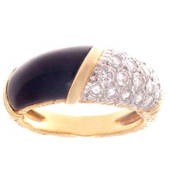Vintage Van Cleef & Arpels Diamond Onyx Gold Ring