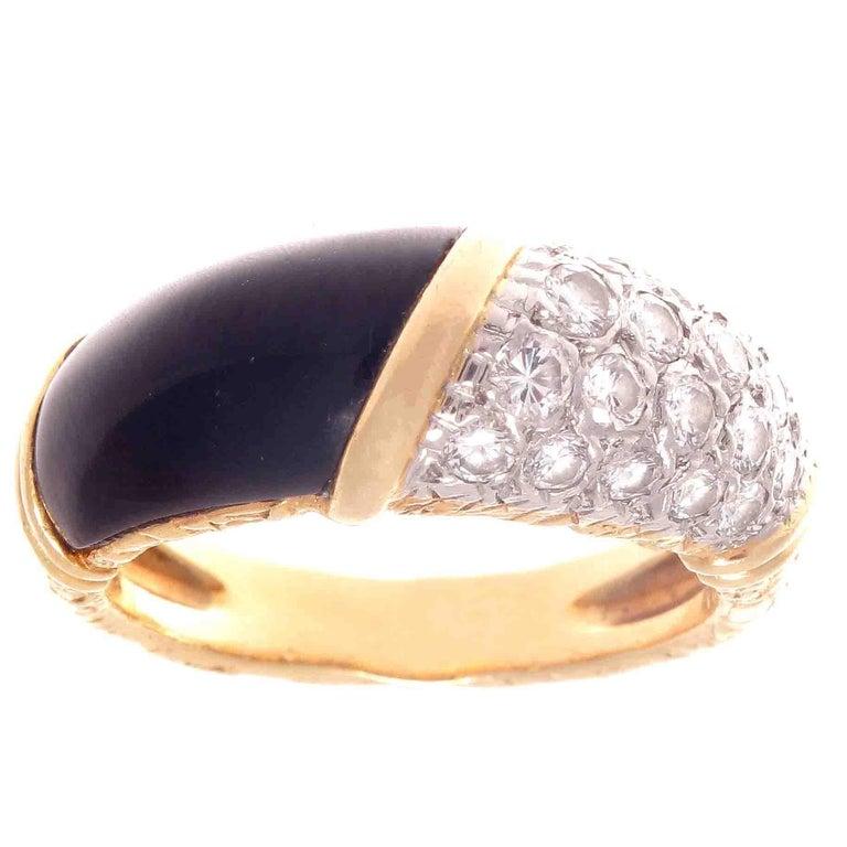 Vintage Van Cleef & Arpels Diamond Onyx Gold Ring