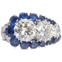 Vintage Van Cleef & Arpels Diamond Sapphire Cocktail Ring