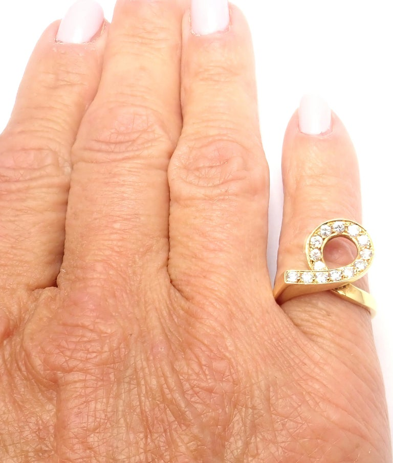Vintage Van Cleef & Arpels Diamond Swirl Yellow Gold Band Ring For Sale 2