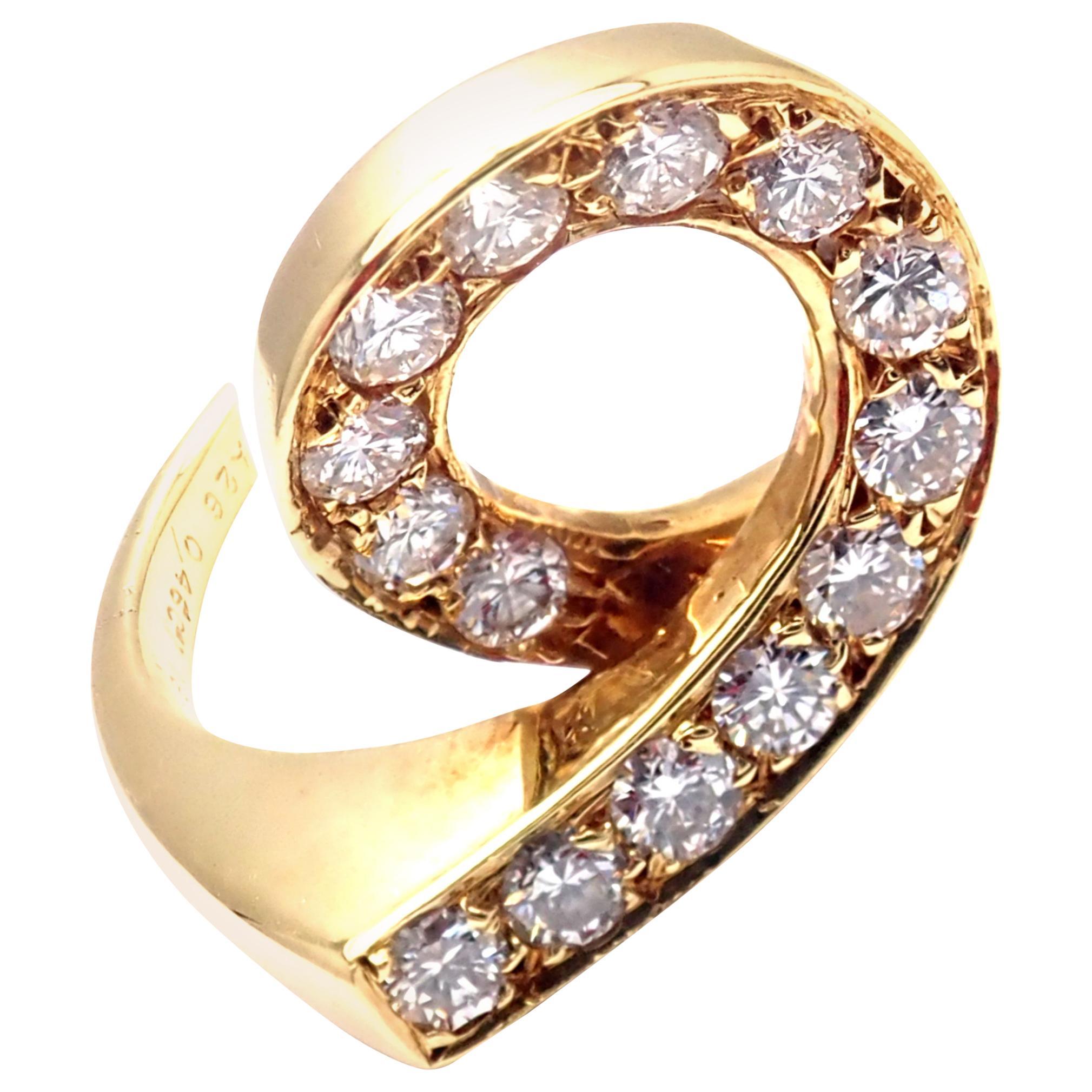 Vintage Van Cleef & Arpels Diamond Swirl Yellow Gold Band Ring