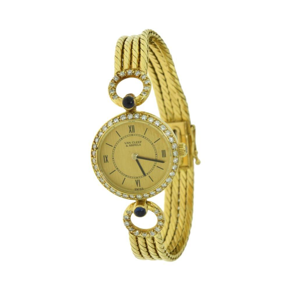 Vintage Van Cleef & Arpels Gold Diamond Watch with Sapphire, circa 1990