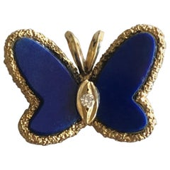 Vintage Van Cleef & Arpels Lapis Lazul Butterfly and Diamond Pendant, 1970s