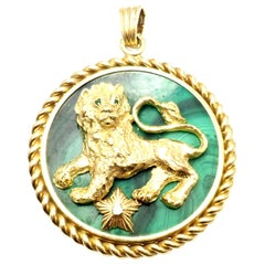 Vintage Van Cleef & Arpels Malachite Diamond Zodiac Yellow Gold Large Pendant