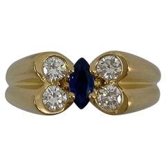 Vintage Van Cleef & Arpels Marquise Fine Blue Sapphire & Diamond Butterfly Ring
