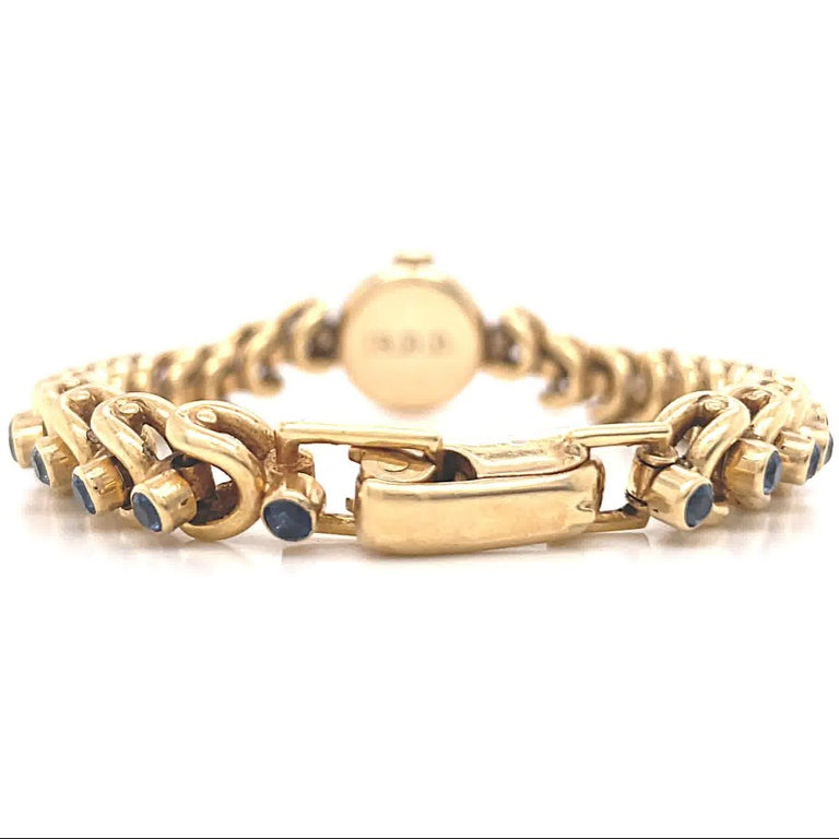 Women's Vintage Van Cleef & Arpels Movado Sapphire 18 Karat Gold Watch For Sale