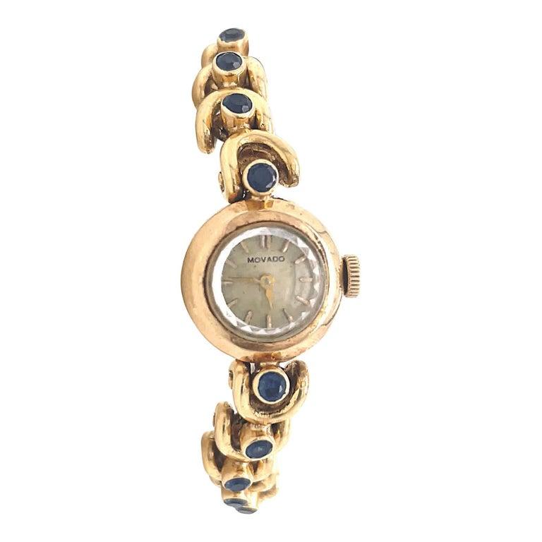 Vintage Van Cleef & Arpels Movado Sapphire 18 Karat Gold Watch For Sale