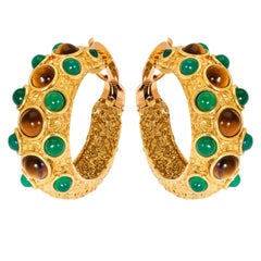 Vintage Van Cleef & Arpels Paris Chrysoprase and Tigers Eye Gold Earrings