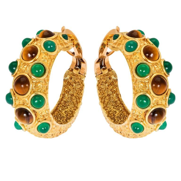 Vintage Van Cleef & Arpels Paris Chrysoprase and Tigers Eye Gold Earrings For Sale