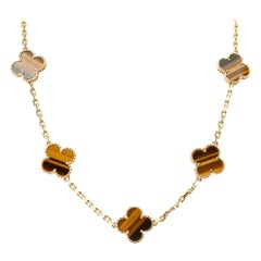 Vintage Van Cleef & Arpels Tiger Eye Alhambra Necklace in 18 Karat Yellow Gold