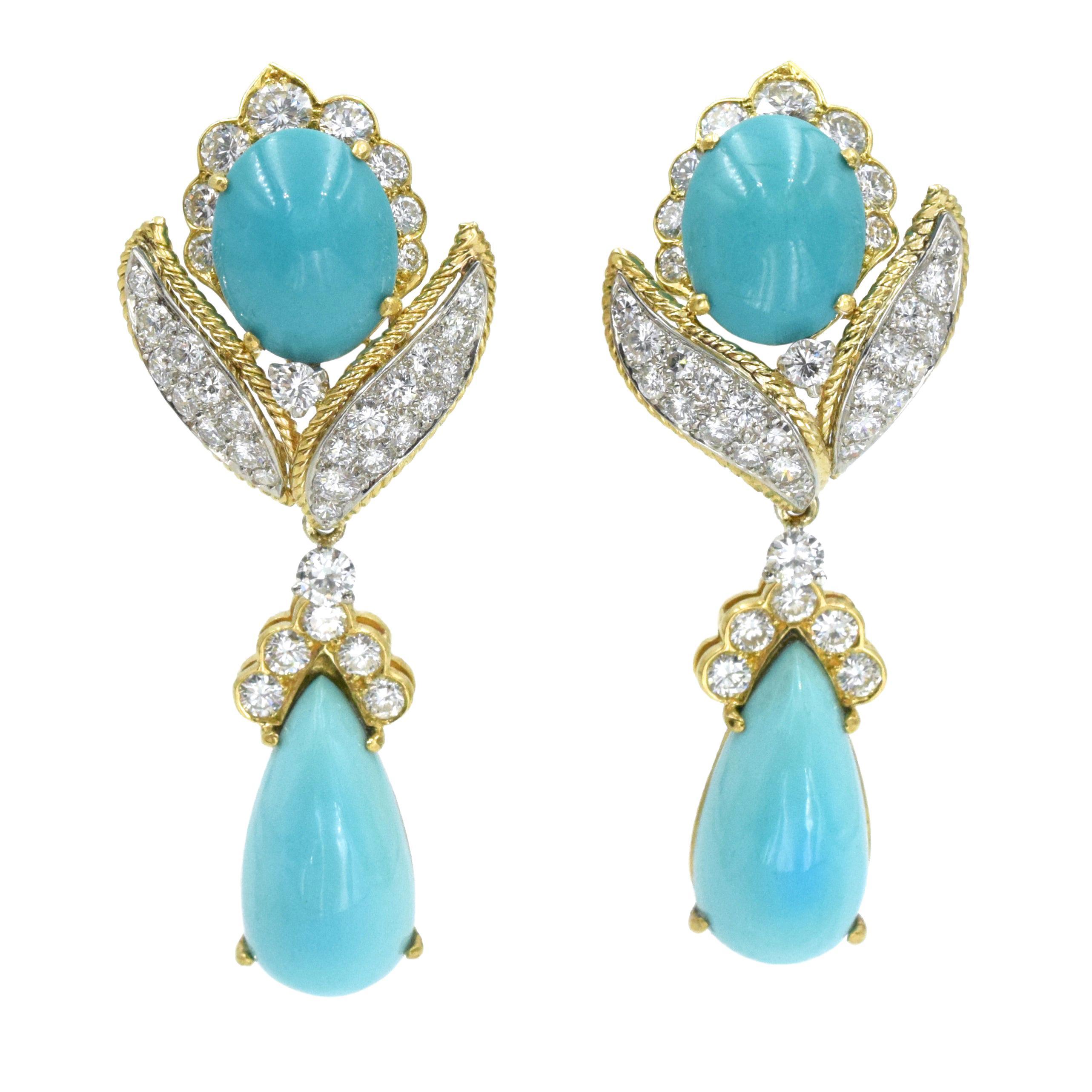 Vintage Van Cleef & Arpels Turquoise and Diamond Earrings