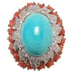 Vintage Van Cleef & Arpels Turquoise, Coral and Diamond Cocktail Ring