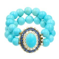 Vintage Van Cleef & Arpels Turquoise Diamond and Sapphire Bracelet
