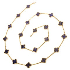 Vintage Van Cleef & Arpels collectable Lapis Alhambra 20 Motif  VCA Necklace