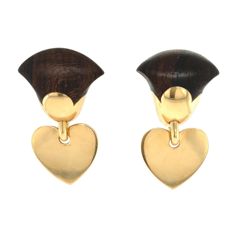 Vintage Van Cleef & Arpels Wood 18 Karat Gold Heart Dangle Earrings