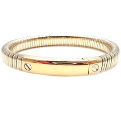 Vintage Van Cleef & Arpels Yellow Gold Steel Bangle Bracelet